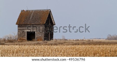Dilapidated out building on South Dakota corn field - stock photo