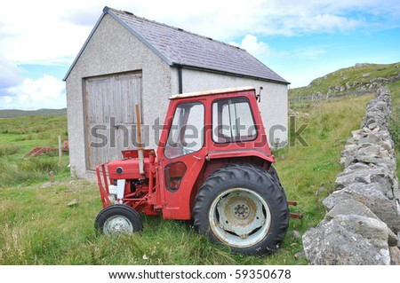 Dilapidated tractor and shed