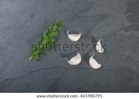 Dill and garlic on a grey slate plate, stock picture