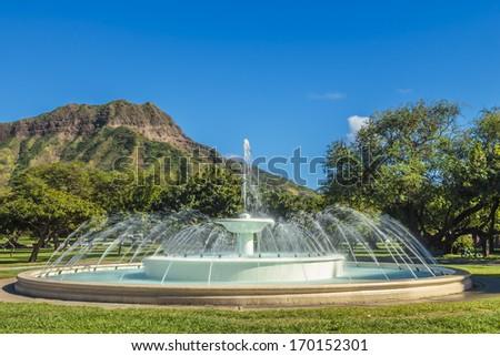 Dillingham Fountain at the foot of Diamond Head on Oahu, Hawaii - stock photo