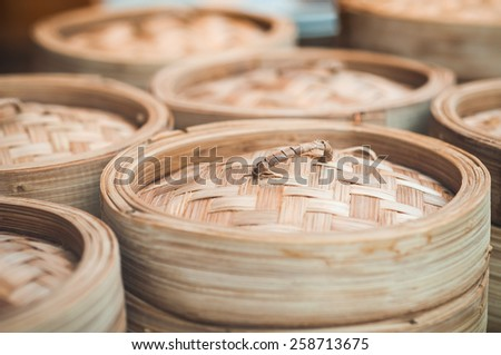 Dim sum bamboo basket containers - stock photo