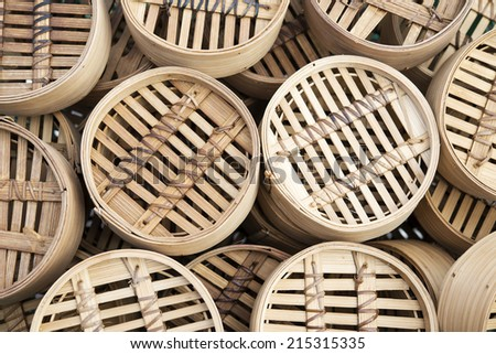 Dim sum Bamboo baskets background - stock photo