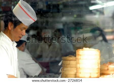 Dim sum chefs at work - stock photo