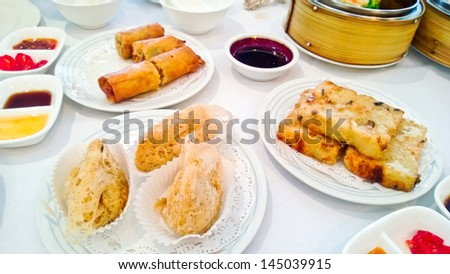 Dim Sum dishes on the table - stock photo