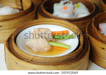 Dim Sum in Bamboo Steamed Bowl  - stock photo