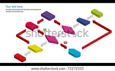 dimension flowchart - stock photo
