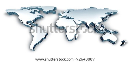 Dimensional 3D Wold Map with USA Europe Africa the Americas and Asia as an international symbol of global communications and intercontinental business as an illustration of an earth model. - stock photo