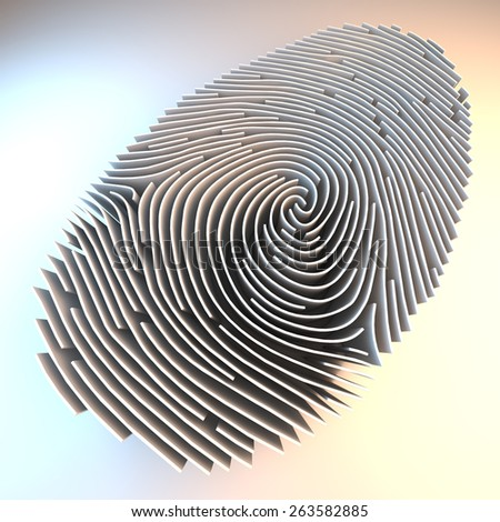 Dimensional fingerprint made of walls, standing on white background, 3d rendering - stock photo