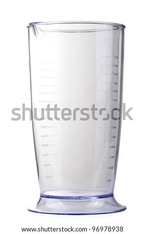 Dimensional plastic cup on a white isolated background - stock photo