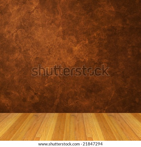 Dimensional Room with a Brown Grunge Wall, and Wood Flooring.