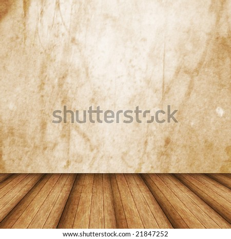 Dimensional Room With a Grunge Wall and Wooden Floor