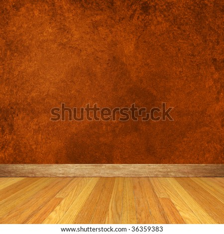 Dimensional Room with Brown Wall and Wood Floor.