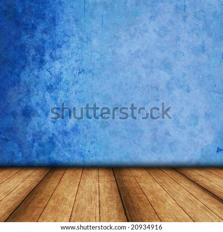 Dimensional Room with Wood Flooring, and a Blue Grunge wall