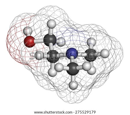 Dimethylaminoethanol (dimethylethanolamine, DMEA, DMAE) molecule. May have beneficial effects on health, including lifespan increase. Atoms are represented as spheres with conventional color coding. - stock photo
