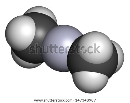 Dimethylmercury  (organomercury compound), chemical structure. Extremely toxic neurotoxin. Atoms are represented as spheres with conventional color coding: hydrogen (white), carbon (grey), etc