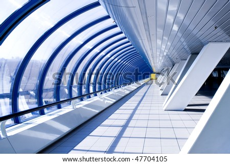 Diminishing hall inside airport in cosmic style - stock photo