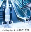diminishing moving escalator in office center - stock photo