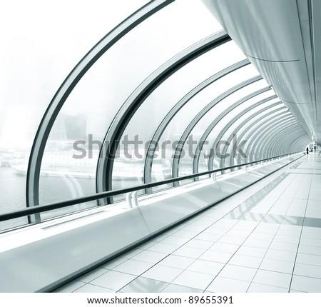diminishing transparent hallway - stock photo