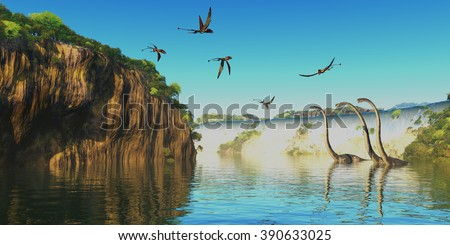 Dimorphodon and Omeisaurus Dinosaurs - Omeisaurus herbivorous sauropod dinosaurs wade through a river below a waterfall as Dimorphodon flying reptiles fly overhead. - stock photo