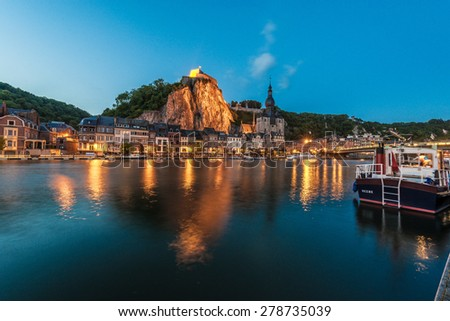 DINANT, BELGIUM â?? JUNE 15, 2014: The fortified Citadel was first built in the 11th century to control the Meuse valley in Dinant, Belgium