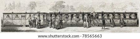 Diner-coach, terrace-coach and lounge-coach in imperial train offered from railways company to Napoleon III. Created by Godefroy-Durand, published on L'Illustration Journal Universel, Paris, 1857 - stock photo