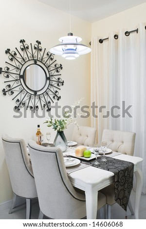 Diner room setting in a new house - stock photo
