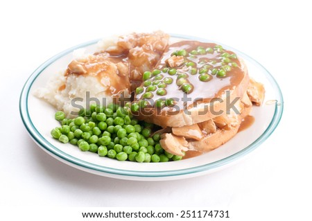 diner style open faced hot chicken sandwich with mashed potatoes - stock photo