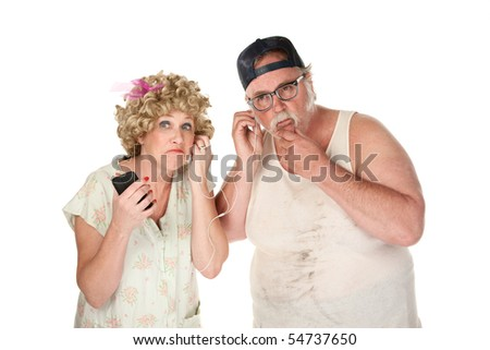 Dingy couple listening to music on white background