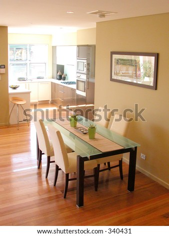 Dining area and kitchen - stock photo