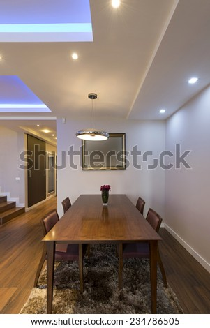Dining area in luxury apartment
