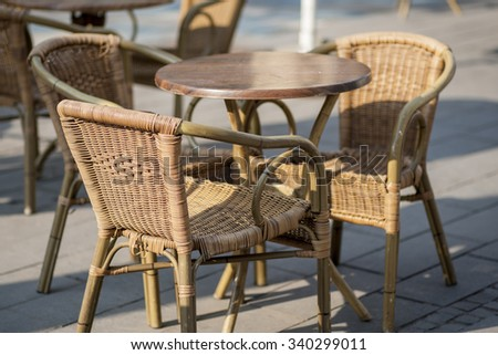 dining chairs in street cafe
