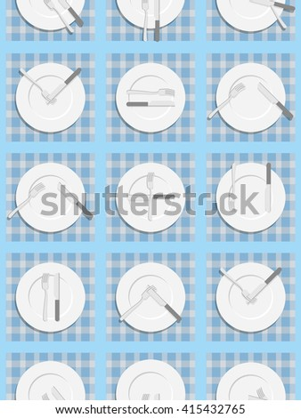 Dining etiquette seamless pattern. Background for menu of restaurant and Cafe. An empty plate, knife and fork. Cutlery texture.
