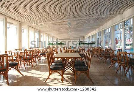Dining hall at a resort hotel