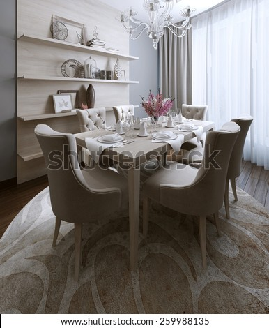 Dining neoclassical style, 3d images - stock photo