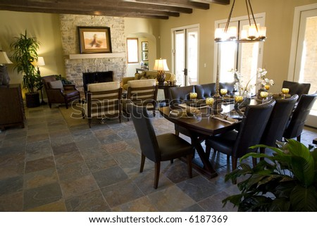 Dining room and table with festive decor. - stock photo