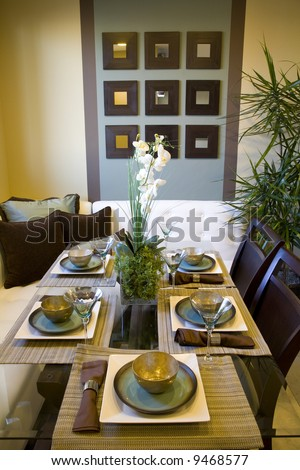Dining room and table with modern decor.