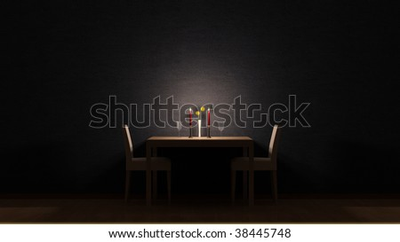 Dining room candle light - stock photo