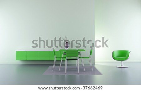 Dining room - chairs, table and rack in green - interior scene - stock photo