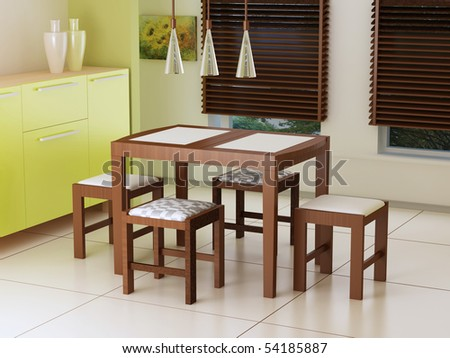 Dining room, 3d interior, dining table with chairs