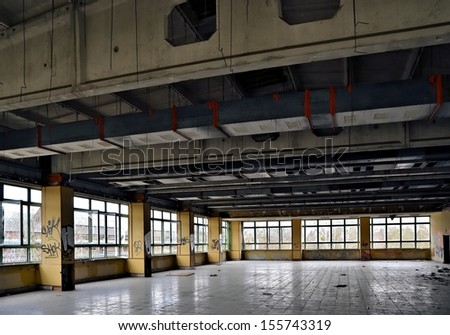 Dining room in a disused factory in Magdeburg - stock photo
