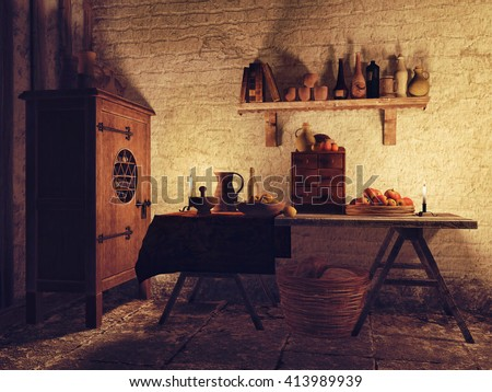 Dining room in an old medieval house, with candles and clay vessels. 3D illustration.