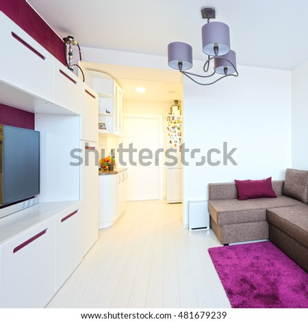 Dining room in bright colors in a modern style