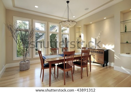 Dining room in luxury home - stock photo