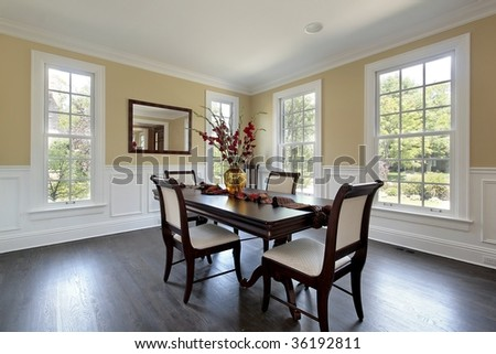 Dining room in new construction home - stock photo