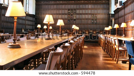 Dining room in old University - stock photo