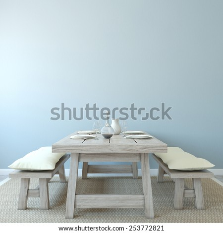 Dining-room interior. Country style. 3d render. - stock photo