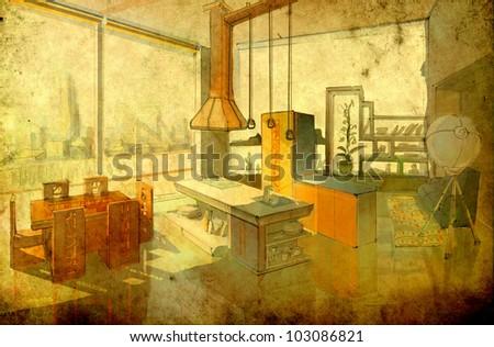 dining-room interior - retro style - stock photo
