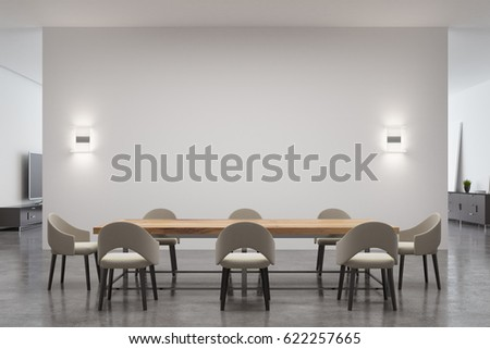 Dining room interior with a long wooden table surrounded by chairs and an empty white wall with two lamps on it. 3d rendering, mock up