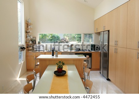 Dining Room/Kitchen Interior - stock photo