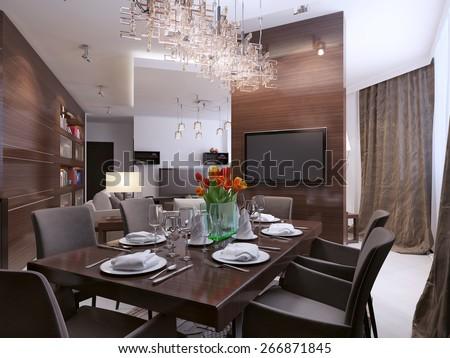Dining room modern interior, 3d render - stock photo